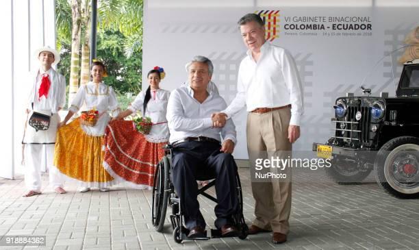 The president of Colombia Juan Manuel Santos poses with the Ecuadorian president Lenín Moreno during the closing of the Sixth ColombiaEcuador...