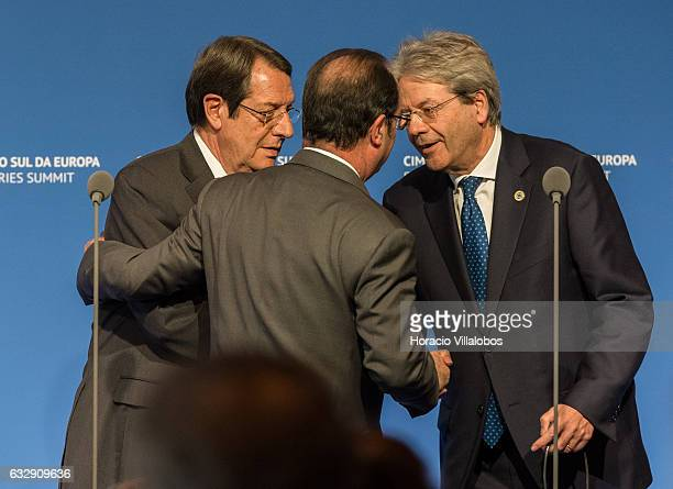 The President of Cyprus Nicos Anastasiades French President Francois Hollande and Prime Minister of Italy Paolo Gentiloni at the end of the Southern...