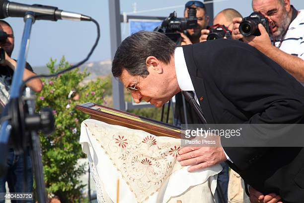 The President of Cyprus Nicos Anastasiadis is worship the image of the Virgin Mary in Evangelos Florakis Base The munitions confiscated in 2009 from...