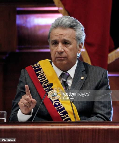 The President of Ecuador Lenin Moreno presented a report to the nation after a year of management in the plenary session of the Government in the...