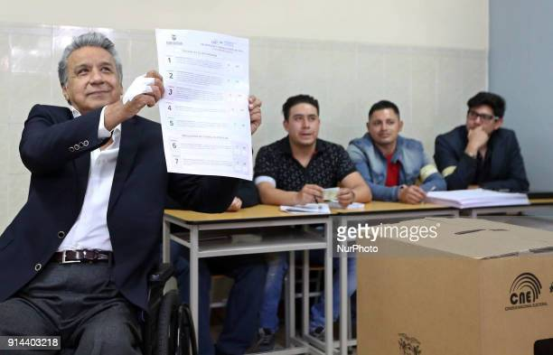 The president of Ecuador Lenin Moreno went to vote in favor of a constitutional referendum at an electoral table convened by his government in Quito...