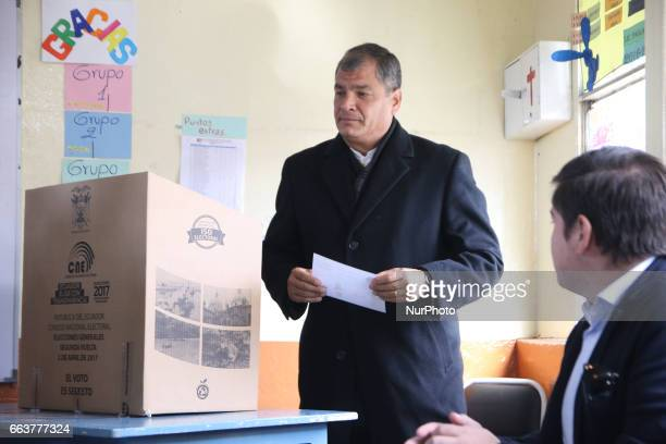 The president of Ecuador Rafael Correa took part in the general election second round in Quito Ecuador on Sunday April 2 2017 Ecuadorians are...
