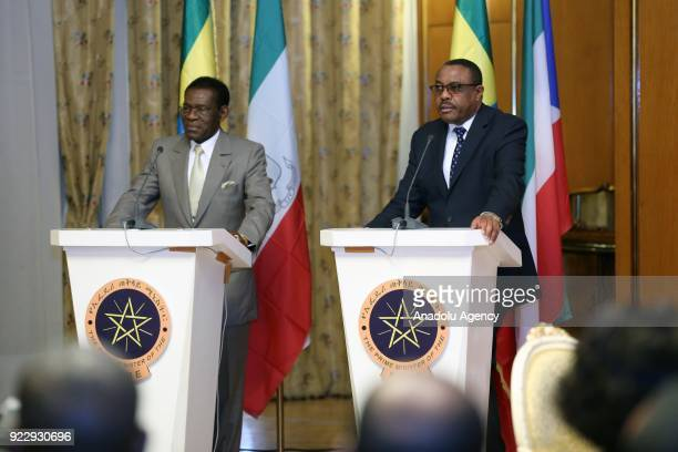 The President of Equatorial Guinea Teodoro Obiang Nguema and Prime Minister of Ethiopia Hailemariam Desalegn hold a joint press conference at...