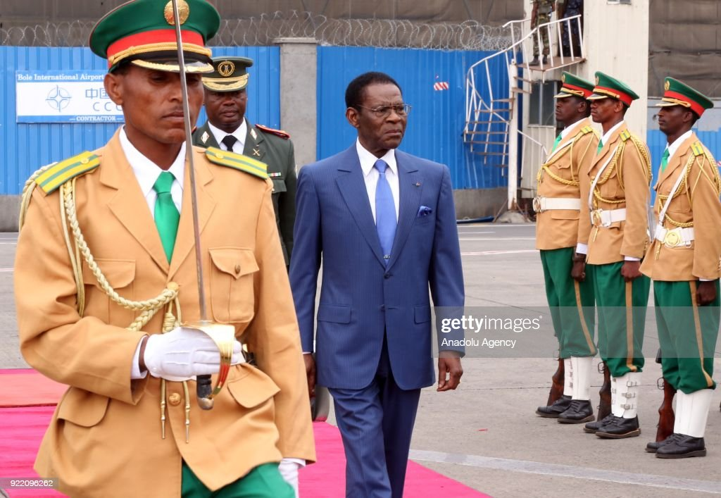 The President of Equatorial Guinea, Teodoro Obiang Nguema (C) arrives at Addis Ababa Bole International Airport due to his official contacts in Addis Ababa, Ethiopia on February 21, 2018.