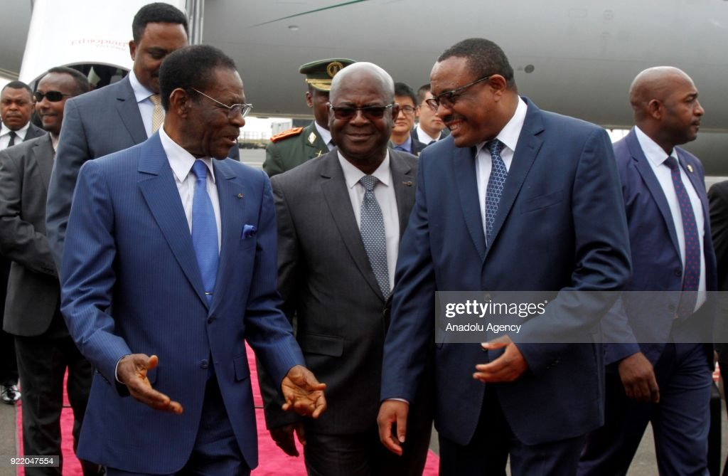 The President of Equatorial Guinea, Teodoro Obiang Nguema (front L) is welcomed by Ethiopian Prime Minister Hailemariam Desalegn (front R) at Bole International Airport during his official visit in Addis Ababa, Ethiopia on February 21, 2018.
