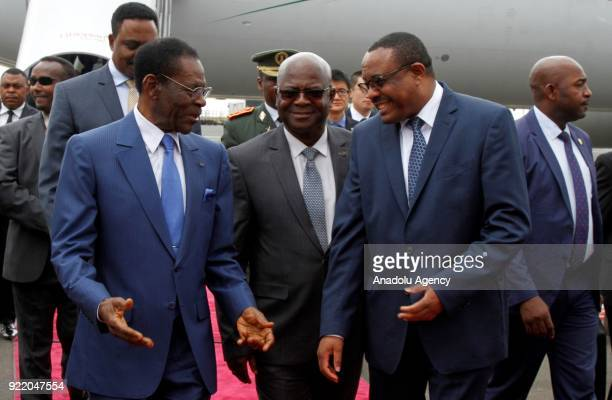 The President of Equatorial Guinea Teodoro Obiang Nguema is welcomed by Ethiopian Prime Minister Hailemariam Desalegn at Bole International Airport...