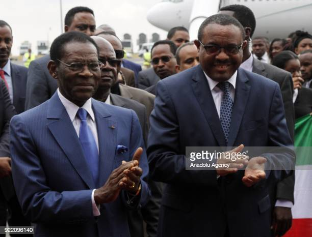 The President of Equatorial Guinea Teodoro Obiang Nguema is welcomed by Prime Minister of Ethiopia Hailemariam Desalegn at Addis Ababa Bole...