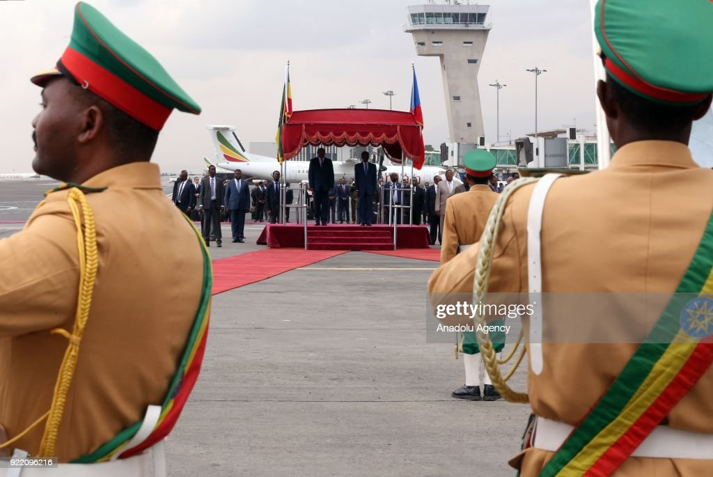 The President of Equatorial Guinea, Teodoro Obiang Nguema is welcomed by Prime Minister of Ethiopia Hailemariam Desalegn during an official welcoming ceremony at Addis Ababa Bole International Airport in Addis Ababa, Ethiopia on February 21, 2018.