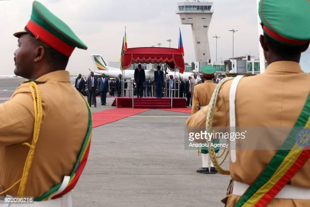 The President of Equatorial Guinea Teodoro Obiang Nguema is welcomed by Prime Minister of Ethiopia Hailemariam Desalegn during an official welcoming...