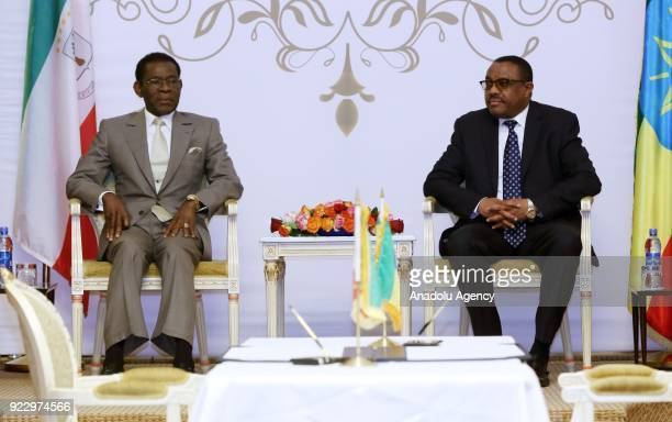 The President of Equatorial Guinea Teodoro Obiang Nguema meets Prime Minister of Ethiopia Hailemariam Desalegn at National Palace in Addis Ababa...