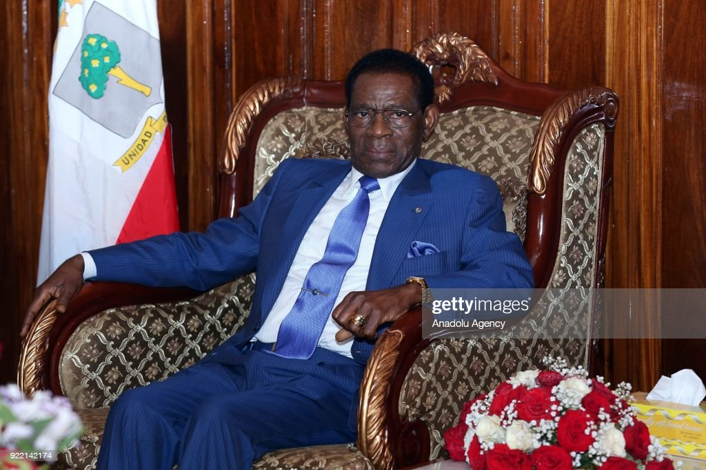 The President of Equatorial Guinea, Teodoro Obiang Nguema meets with Prime Minister of Ethiopia Hailemariam Desalegn (not seen) at Addis Ababa Bole International Airport in Addis Ababa, Ethiopia on February 21, 2018.