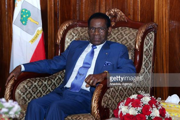 The President of Equatorial Guinea, Teodoro Obiang Nguema meets with Prime Minister of Ethiopia Hailemariam Desalegn at Addis Ababa Bole...