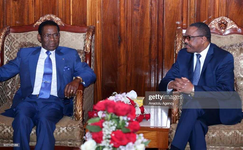 The President of Equatorial Guinea, Teodoro Obiang Nguema (L) meets with Prime Minister of Ethiopia Hailemariam Desalegn (R) at Addis Ababa Bole International Airport in Addis Ababa, Ethiopia on February 21, 2018.