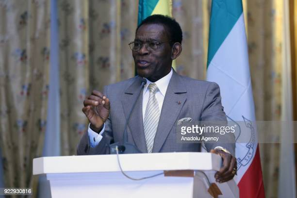 The President of Equatorial Guinea Teodoro Obiang Nguema speaks during a joint press conference held with Prime Minister of Ethiopia Hailemariam...