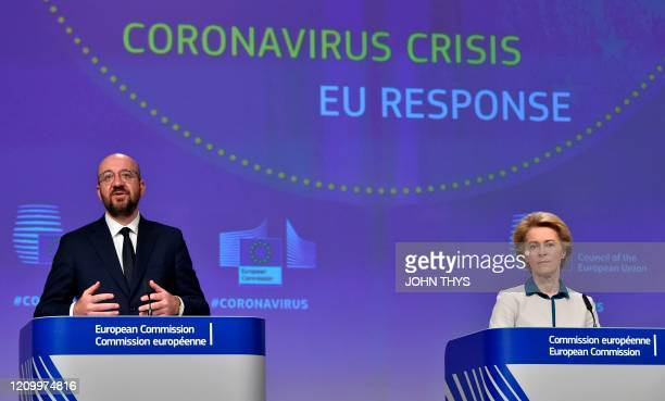 The President of European Commission Ursula von der Leyen and the President of the European Council Charles Michel hold a press conference on the...