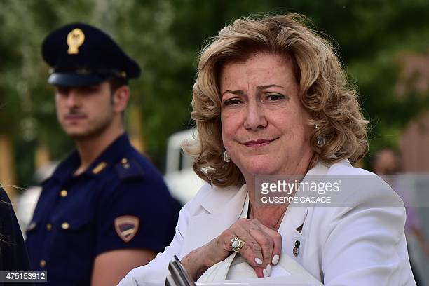 The president of Expo Milano 2015 the Universal Exhibition Diana Bracco arrives at the Italian pavilion on May 29 2015 in MilanAFP PHOTO / GIUSEPPE...