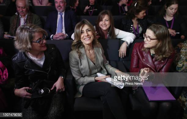The president of FADEMUR Teresa Lopez the wife of the president of the Government Begoña Gomez and the secretary general for the Demographic...