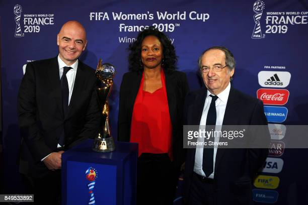 The president of FIFA Gianni Infantino the France ministery of sport Laura Flessel and Noel Le Graet President of the France Football Association...