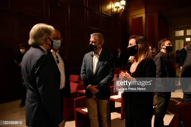 The president of Foment del Treball, Josep Sanchez Llibre; the first deputy mayor of Barcelona Jaume Collboni and the co-founder of Saye, Marta...