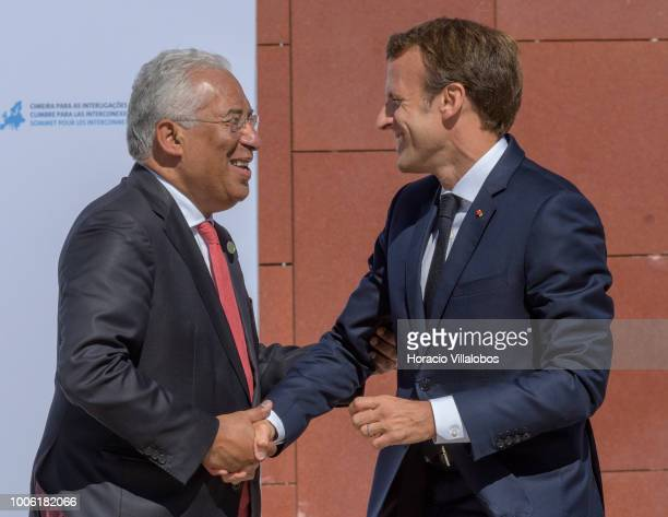 The President of France Emmanuel Macron is greeted by Portuguese Prime Minister Antonio Costa upon his arrival to participate in the Summit on Energy...