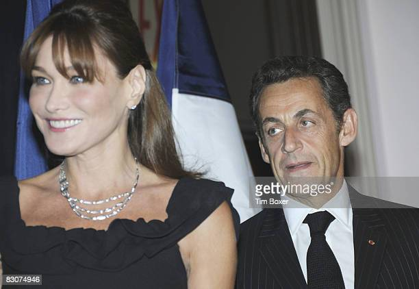 The President of France Nicolas Sarkozy and his third wife Carla Bruni arrive at the annual Appeal of Conscience Foundation dinner at the Waldorf...