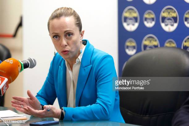 The president of Fratelli d'Italia party Giorgia Meloni during the press conference to present the parliamentary motion for Italy's economic relaunch...