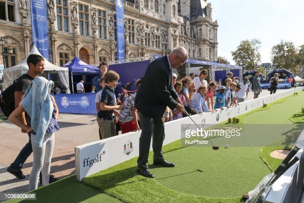 The President of French Golf Federation JeanLou Charon inaugurates a golf initiation village on the steps of Paris Town Hall on September 20 2018...