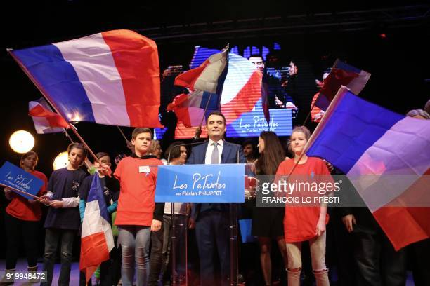 TOPSHOT The president of French nationalist party 'Les Patriotes' Florian Philippot delivers a speech during a congress to launch his party at the...