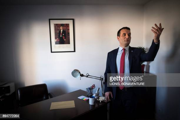 The president of French nationalist party 'Les Patriotes' Florian Philippot answers journalists' questions during the inauguration of his party's...