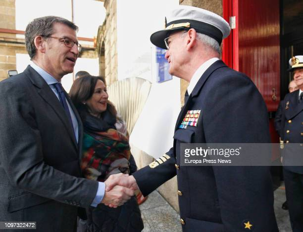 The president of Galicia Alberto Nuñez Feijoo and the minister of Defense Margarita robles shake hands with the Admiral of the Major State Teodoro...