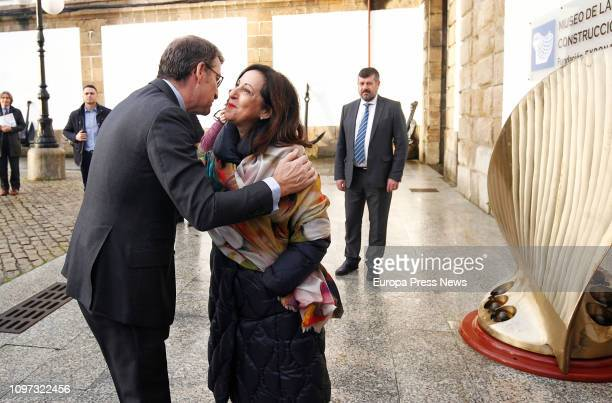 The president of Galicia Alberto Nuñez Feijoo says hello to the minister of Defense Margarita Robles upon his arrival to the Museum of Naval...