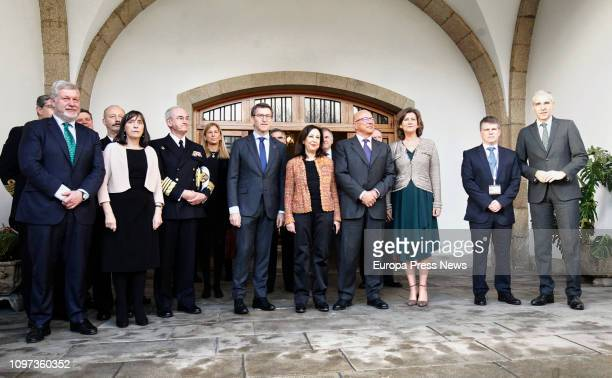 The president of Galicia Alberto Nuñez Feijoo the minister of Defense Margarita Robles the State Secretary of Defense Angel Olivares and the...