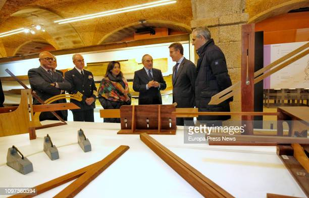 The president of Galicia Alberto Nuñez Feijoo the minister of Defense Margarita Robles and the director of the museum Jose Maria Cardona visit the...
