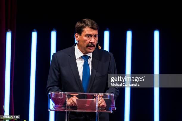 The president of Hungary Janos Ader speaks at a ceremony for the Stockholm Junior Water Prize at Grand Hotel on August 29 2017 in Stockholm Sweden
