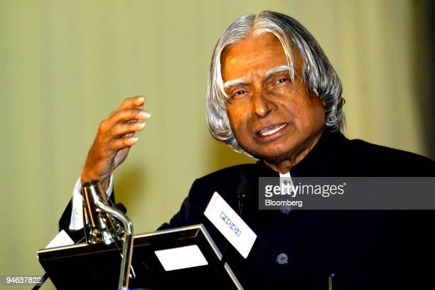 The President of India A P J Abdul Kalam speaks after inaugurating 'India Telecom 2006' in New Delhi India on Thursday December 14 2006