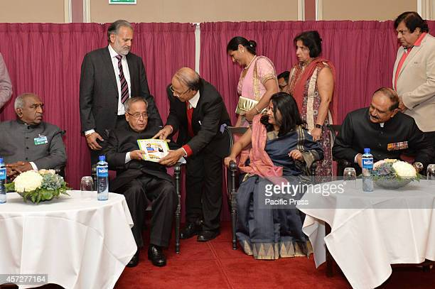 The President of India Shri Pranab Mukherjee during a Community Reception hosted by Indian Ambassador to Norway Air Chief Marshal NAK Browne at Oslo...