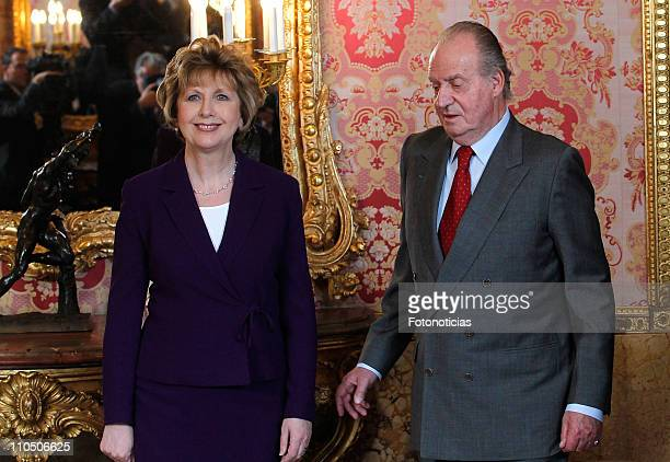 The President of Ireland Mary McAleese and King Juan Carlos of Spain attend a lunch honouring the President of Ireland at The Royal Palace on March...