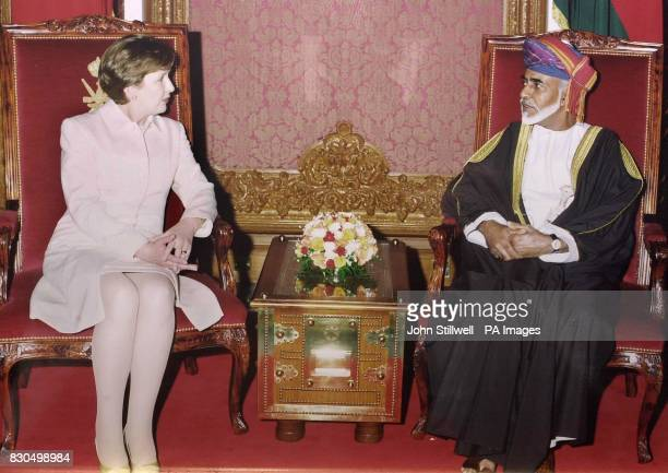 The President of Ireland Mary McAleese talks with Sultan Qaboos bin Said of Oman at the Sultan's Palace in the capital Muscat after she arrived in...