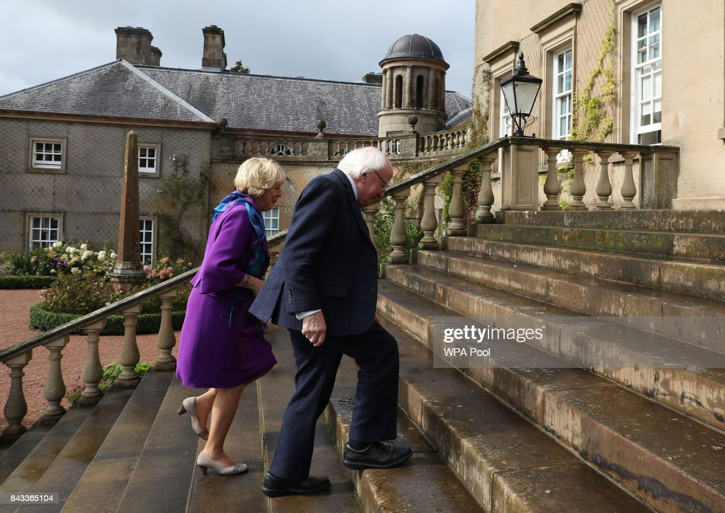 The President of Ireland Michael D Higgins and his wife Sabina Coyne arriving to meet Prince Charles, Prince of Wales, known as the Duke of Rothesay in Scotland, at Dumfries House on September 6, 2017 in Cumnock, Scotland.