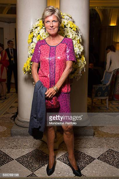 The president of Italian Government Tourist Board Evelina Christillin wearing a dress by Marc Jacobs for the saturday night gala at the Forum...