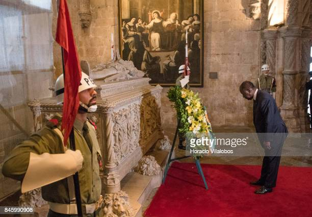 The President of Ivory Coast Alassane Dramane Ouattara pays homage to Luis de Camoes Portugal's and the Portuguese language's greatest poet before...