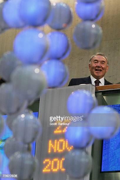 The President of Kazakhstan, Nursultan Nazarbayev opens trading at the London Stock Exchange on November 22, 2006 in London, England. Four of...