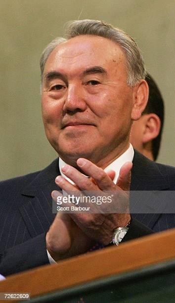 The President of Kazakhstan, Nursultan Nazarbayev smiles as he opens trading at the London Stock Exchange on November 22, 2006 in London, England....