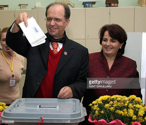 The President of Kosovo and leader of Democratic League of Kosovo Ibrahim Rugova casts his ballot next to his wife Fane in the general elections in...