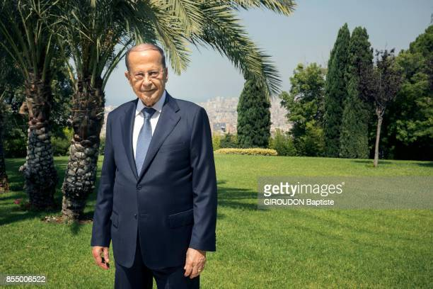 the President of Lebanon Michel Aoun is photographed for Paris Match in the garden of the Palais Baabda on september 05 2017 in Beirut Lebanon