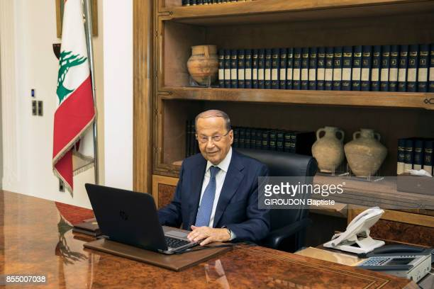 the President of Lebanon Michel Aoun is photographed for Paris Match in his office of the Palais Baabda on september 05 2017 in Beirut Lebanon