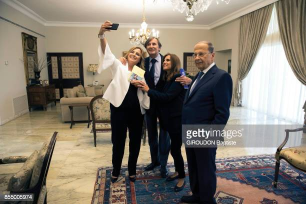 the President of Lebanon Michel Aoun with his 2 daughters and the writer Daniel Rondeau are photographed for Paris Match at the Palais Baabda on...