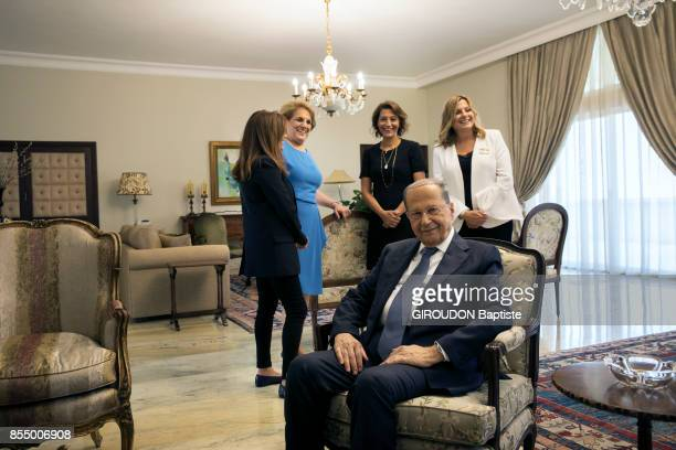 the President of Lebanon Michel Aoun with his wife Nadia and his 3 daughters Claudine Chantal Mireille are photographed for Paris Match at the Palais...