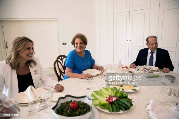 the President of Lebanon Michel Aoun with his wife Nadia and his daughter are photographed for Paris Match at the Palais Baabda on september 05 2017...