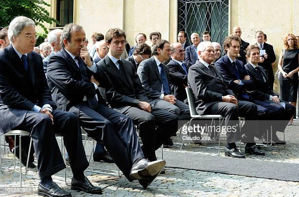 The President of Lega Calcio Maurizio Beretta Uefa President Michel Platini President of Juventus FC Andrea Agnelli Giampiero Boniperti John Elkann...